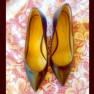 "Perfect Comfy Pointed Toe Black Pumps 3"" Heels 7W"